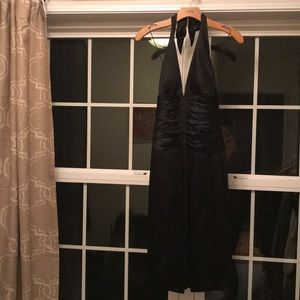 Cache Black Ruched Halter Dress Size 6